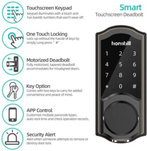 Hornbill Keyless Entry Bluetooth Smart Door Locks For Homes Bedroom