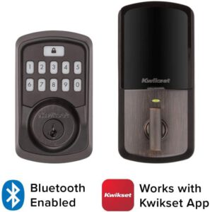 Kwikset 99420-003 Aura Bluetooth Programmable Keypad Door Lock Deadbolt Featuring SmartKey Security