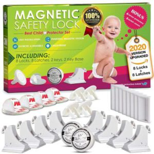 MQP  Baby Proofing Invisible Magnetic Cabinet Door & Drawer Locks for Kids & Toddlers