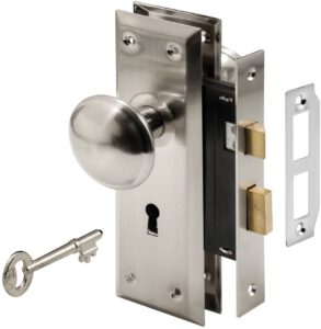 Mortise Keyed Lock Set with Satin Nickel Knob – Perfect for Replacing Broken Antique Lock Sets
