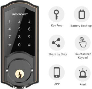 SMONET Smart Deadbolt Bluetooth Door Lock For Home, Hotel & Apartment