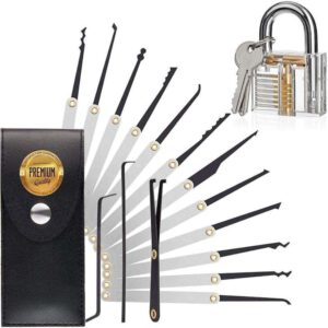 OTTOPT 15 Pcs Professional Multi-Function Lock Picking Training Set - the best lock picking tools for beginners