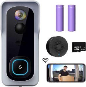 XTU J1 Wireless Doorbell Camera with Chime - Cloud Storage 32 GB SD Card , best WiFi doorbell camera