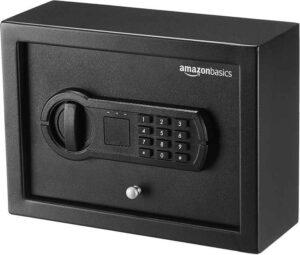 Amazon Basics Slim Desk Drawer Security Safe with Programmable Electronic Keypad